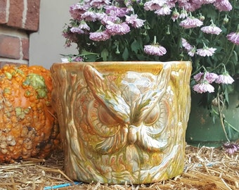 Ceramic Owl Planter Bowl Vase Unique molded item