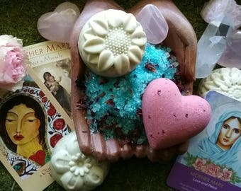Mother Mary Ritual Bath Kit Reiki-charged for unconditional love, peace, divine help