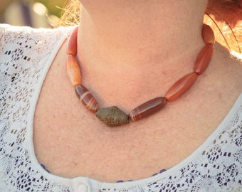 Orange Statement Necklace Large Chunky Carnelian Tubes Adjustable Long African Brass Bead Ethnic Tribal