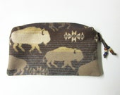 Large Zippered Pouch Cosmetic Bag Accessory Organizer Southwest Buffalo Blanket Wool Native American Print