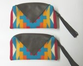 RESERVED for Elena Set of 4 Wool and Leather Zippered Pouches Fringed Leather Zipper Pull Southwest Style Native American Prints
