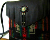 Hand Beaded Wool Cross Body Bag Purse Shoulder Bag Soft Black Leather Native American Print Fringe Southwest Style