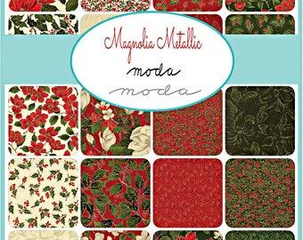 """Moda MAGNOLIA METALLICS Layer Cake 10"""" Precut Fabric Quilting Cotton Squares 33240LCM"""
