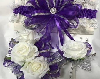 Purple Silver Garter, Corsage Set