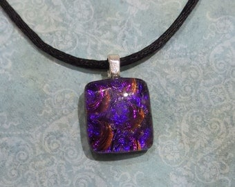 Purple Dichroic Necklace, Red and Purple, Fused Glass Jewelry, Ready to Ship, Sparkly Purple Pendant. Gift for Girl  - Precious Purple -6