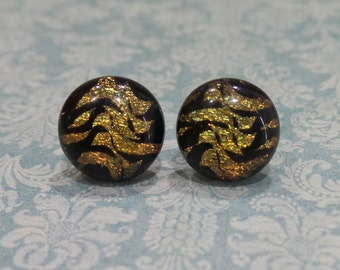 Dichroic Earrings, Dichroic Golden Brown, Copper Brown, Hypoallergenic Studs, Womens Fused Glass Jewelry- Autumn Waves - 1820 -6