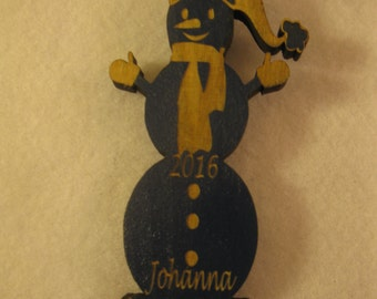 Personalized wooden christmas cut out Gingerbread man ornament or gift tag