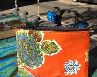 "Orange Floral Oil Cloth 7"" Zipper Pouch, Vinyl Cosmetic Case, Make Up Coin Bag."