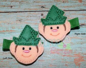 Elf with Green Hat Felt Hair Clip, Felt Hair Clip, Feltie Hair Clip, Girls Felt Hair Clip, Hair Clip, Toddler Hair Clip, Elf Hair Clip