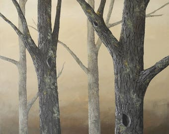 Mossy Oak Grove Forest painting - 3' square - HUGE oak tree painting - giant landscape - textured bark - woodland forest - canvas sofa art