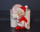 Christmas Planter Peppermint Stick/Cane Elf Pixie Child in Santa Suit