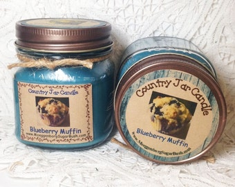 Jar candle, mason jar, Blueberry Muffin candle, container candle, 1/2 pint, mason jar candle, Buttery blueberry, Moeggenborg Sugar Bush