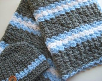 READY TO SHIP Crochet Baby Boy Blanket Set, Nursing Blanket, Baby Travel Blanket & Hat , Baby Shower Gift - Blue, Grey, White Baby Blanket