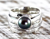 Black Pearl Ring Hammered 925 Sterling Silver Finish Womens Custom Engraved