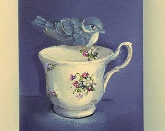 Bird  Teacup painting original still life bird art Purple Martin and violets Tea cup