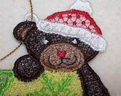 Whimsical teddy bear Christmas ornament machine embroidered lace