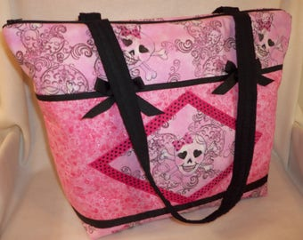 Gothic Pink skulls + bows duffle diaper bag XLG travel craft bag purse over night nappy bag