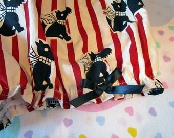 Scottie dog bloomers, retro fabric 60s mod stripe british invasion gothic lolita fairy kei fashion drag queen clothing size medium m