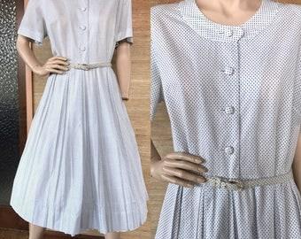 1950s cotton short sleeve shirtdress blue swiss dots (L)