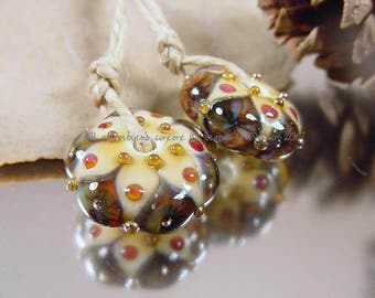 Handmade lampwork glass beads earring pair, Artisan glass beads, ivory beads, gold beads, amber beads, lampwork bead pair, SRA lampwork