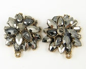 Hematite Luster Gray Rhinestone Earring Posts Gunmetal Ornate Vintage Style Findings Dressy Special Occasion Jewelry |BL3-1|2