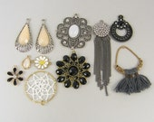 Assorted Jewelry Findings, Chain Earring Fringe Earring Crochet Flower Charms Black White Tan Gray Mixed Lot