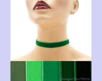 Green Velvet Choker 5/8 inch wide Custom made Your Length and Color shade (approximate width 0.625 inches; 16 mm) elastic colors noted
