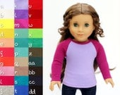 Fits like American Girl Doll Clothes - The Baseball Raglan Tee, You Choose Colors and Sleeve Length