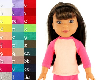 Fits like Wellie Wishers Doll Clothes - The Baseball Raglan Tee, You Choose Colors | 14.5 Inch Doll Clothes