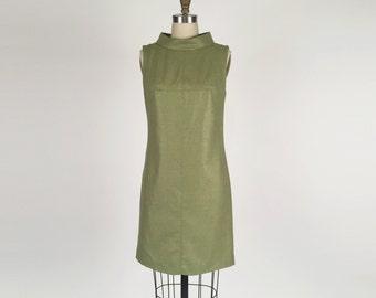 Alena Designs - Carla - Sheath Shift Sleeveless Dress with Funnel Collar Wool Silk - Green - Fully lined