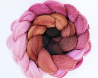 "BFL Wool  Spinning Fiber, Hand-dyed Gradient 4 oz, ""Peppercorn"""