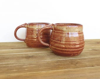 Coffee Cups Ceramic Stoneware in Shino Glaze - Two Pottery Mugs, Rustic Kitchen