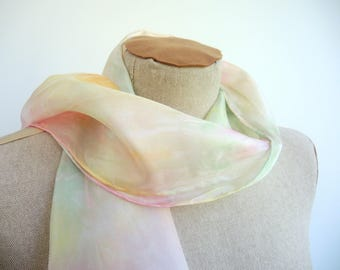 NEW Spring Pastel Aurora small silk scarf -hand-dyed pastel green yellow peach and pink- wearable art ready to ship OOAK