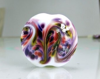 White Purple Lampwork Bead Set SRA Glass Beads