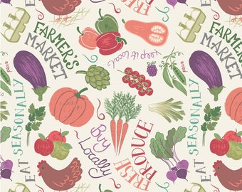 Tossed Produce Small Town Farmers Market Fabric by Lewis and Irene
