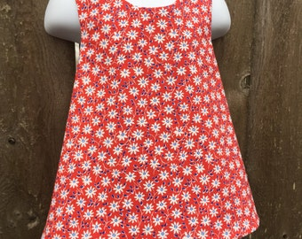 Crossback Top --- Tiny White Flowers - Reversible Pinafore
