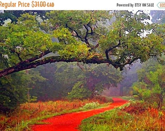 ON SALE 35% Painted Photograph, 7x5 fine art giclee print, Title: Follow the red brick road