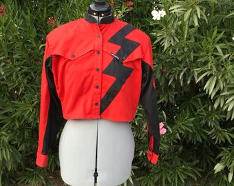 Vtg Western Mo Betta 80s Rodeo Red Crop Top Blouse 80s Retro Cowgirl