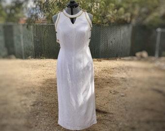 Vintage Deborah Laws White Nautical Sailor Linen Dress 80s SZ 12