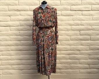 Vintage Pendleton Maxi Skirt Blouse Set Secretary Chic Playing Cards Sz 6 NWT