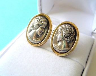 Contemporary Sterling and Gold Plated Cameo Post Back Earrings