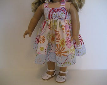 18 Inch Doll Clothes - Circles and Dots Sundress made to fit dolls such as American Girl and Maplelea doll clothes