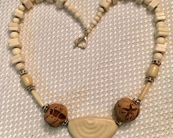 Cream Square Turquoise Beaded Necklace - Hand Made Necklace - Earrings Included - Clay Beads - Pewter - Mother's Day Gift Idea - Mother-Mom