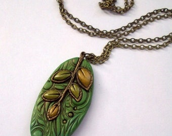 HALF OFF SALE Autumn Leaves Polymer Clay Pendant Necklace