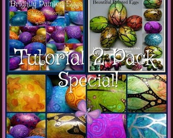 HALF OFF SALE Unique Painted Eggs, Pdf Tutorial Special Bundle Pack, Easter Egg Art, Diy, Holiday Decor