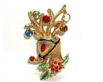 JJ Reindeer Red Nose Rhinestones pin brooch Jonette Jewelry gold tone RARE