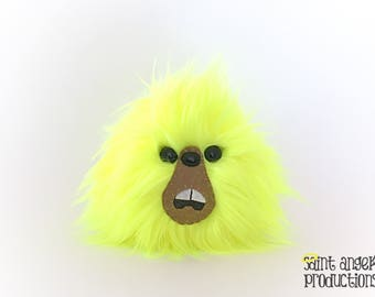 Neon Yellow Monster Blob Plush, Black Light UV Responsive, Fluorescent, Hi-Vis Fluffy Handmade Fuzzy Plushie, READY to SHIP