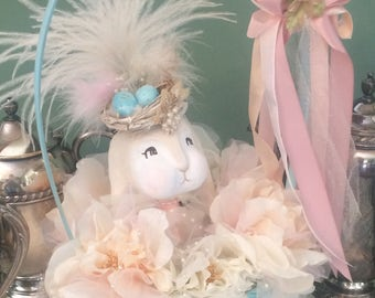 Easter centerpiece easter bunny easter basket spring decor easter decor shabby pastel vintage inspired art doll