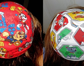 Paw Patrol kippah Marshall, Rubble, Chase yarmulke -- toddler or regular sizing---red or white --gift for him