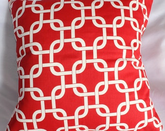 Red Modern Pillow Cover, Red Chain Premier Print, Sofa Pillow